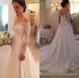 model vintage dress NZ - Vintage A Line Lace Wedding Dresses New Sweep Strain Long Sleeve Lace Bridal Gowns Bow Open Back Illusion Applique Wedding Gowns