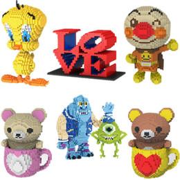 Bird Blocks Australia - Mini Qute Pop Huge Cartoon Valentine's Day Gift Love Bear Bird Anpanman Building Blocks Brick Action Figures Educational Toy Y190606