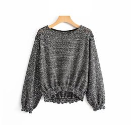 Woolen Knitted Clothes Australia - Woolen Women Sequined Knitted Sweaters Chic Ladies Bling Pullovers Winter Solid Girls Gray Sweater Street-wear Knitwear Clothes
