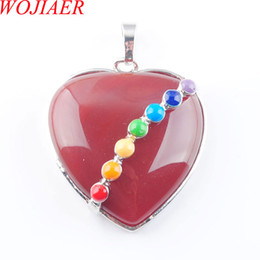 red agate stone pendant NZ - WOJIAER Natural Red Agate Gem Stone Bead Heart Silver Plated Healing Reiki Chakra Pendant Necklace Charm 1pcs Jewelry DN3195