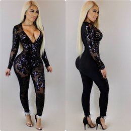 club rompers jumpsuits NZ - See Through Black Sequin Jumpsuit Women Long Sleeve Sparkly Bodycon Jumpsuits Sexy Rompers Glitter Club Party Jumpsuits Overalls Y19071701