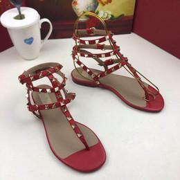 $enCountryForm.capitalKeyWord NZ - 2019 luxury design Leather Women Stud Sandals Pumps Ladies Sexy flat sandals Fashion rivets shoes 2 Colors