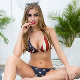 super sexy suit NZ - 2 piece set women Sexy shorts and bras 2020 Summer American flag prints super bikini suits set ladies Skinny suit twinset Girls T200702