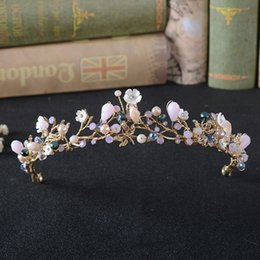 gold hair beads Australia - wholesale Wedding Hair Accessories Bridal Tiara Pink Beads White Flower Gold Headband For Women Hair Ornaments Drop Shipping