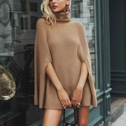 Pullover shawl online shopping - Knitted Women Sweater Europe America New Women Camel casua Cloak Style Knit Ladies Turtleneck Street style Shawl Coat Sexy Winter Tops