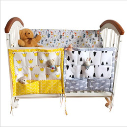 $enCountryForm.capitalKeyWord NZ - Storage Bags Baby Cot Bed Hanging Bag Muslin Cotton Crib Organizer Toys Diaper Pocket For Crib Bedding Set Bed Bumper Container Holder B5811