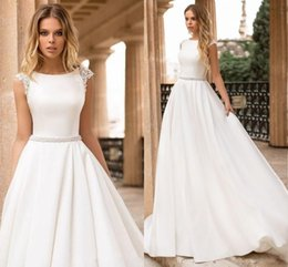 simple bead designs NZ - Simple Design Cap Sleeve Wedding Dresses 2019 Court Train Satin Long Bridal Gowns With Beaded Sash