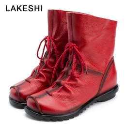 Ethnic shoEs womEn online shopping - LAKESHI Genuine Leather Women Boots Vintage Ethnic Mon Shoes Soft Cowhide Women Shoes Zip Lace Ankle Boots Flat Booties