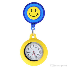 $enCountryForm.capitalKeyWord Australia - Yellow Silicone Decorate Smiling Face Pocket Watch Luminous Function Nurse Watches Retractable Rope with Stainless Steel Clip