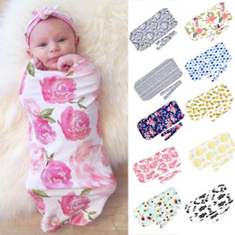 $enCountryForm.capitalKeyWord Australia - New Newborn Print Blanket Headband Bow Set Baby Swaddle Wrap Sleeping Bag New Fashion Baby Comfy Swaddle Wrap