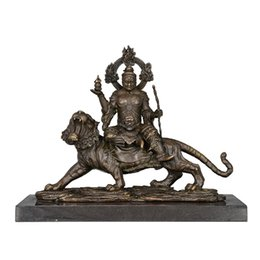 statue tibetan UK - ATLIE BRONZES Religion sculpture buddha statues Vaisravana Bishamon decoration bronze Tibetan Buddha Boundless wisdom god
