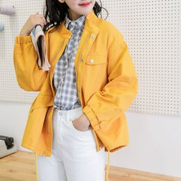 coats factories NZ - Yellow Female Student Coat Spring And Autumn 2019 New Women's Loose Harajuku Wind Tool Jacket Bf Coats factory SH190902