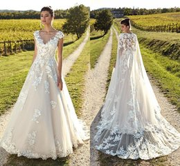 $enCountryForm.capitalKeyWord NZ - 2019 Light Champagne Elegant Capped Sleeves Wedding Dresses Sheer Neck Backless Tulle Lace Bride Gowns With Wrap Beach Garden Wedding Gowns