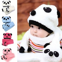 $enCountryForm.capitalKeyWord Australia - New Panda Bear Cat Girl Boy Baby Winter Knitted Beanie Hat And Scarf Set Toddler Kids Warm BalaclavaOutdoor Skiing Sports Scarf Sets