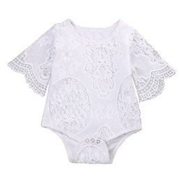 white lace shorts outfits UK - New Cute White Lace Romper Baby Girl Clothes Ruffles Long Sleeve Jumpsuit Kids Girls Infant Baby Clothing Sunsuit Outfits