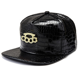 leather snapbacks wholesale Australia - DHL ups TNT ship Vogue Five Ring Boxing Crocodile hip hop rap PU Hats Gold Rhinestone Street DJ Money Baseball Caps men women Sports Caps
