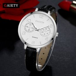$enCountryForm.capitalKeyWord Australia - Gaiety New Brand Watches Women Silver Case Leather Band Fashion Watches Luxury Vintage Quartz Bracelet Watch Sports Watchs