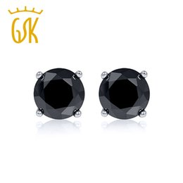 dcaacaf98 Black Stud Earrings For Men Australia - Gemstoneking Solid 14k White Gold  Jewelry 0.75ctw Round