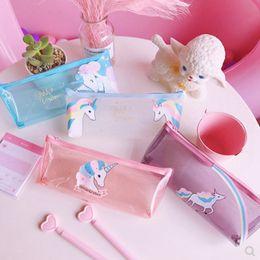$enCountryForm.capitalKeyWord Australia - PVC Transparent Zipper Unicorn Pencil Pouch For Teen Girls School Supplies Stationery