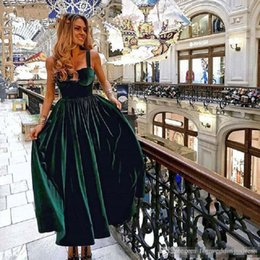 cb82efee47c0 Vintage Ankle Length Cocktail Dress Elegant 2019 Sweetheart Green Velvet  Ladies Formal Party Gown Homecoming Dresses
