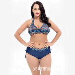 f1cc47e0ec63a Print Flower Swimsuit Women Plus Size High Waist Two Pieces Swimwear 5xl  Big Size Bikini