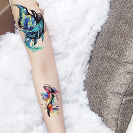 $enCountryForm.capitalKeyWord NZ - Colored Drawing Dolphin Body Tattoo Sea Animal Waterproof Temporary Tattoo Sticker Water Transfer Arm Leg Chest Waist for Male Female Beauty