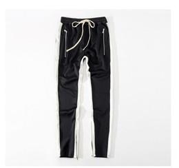 Free Tracks Australia - Men Side Stripe Bottom Zipper Drawstring Sweatpants High Streetwear Jogger Men Patchwork Elastic Waist Track Pants Free Shipping