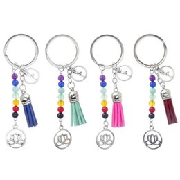 $enCountryForm.capitalKeyWord Australia - Free DHL Nature Stone Keychain Chakras Yoga Keyring Tassel Keychain Leather Tassel Keychain Car Keyring Handbag Wallet Accessories
