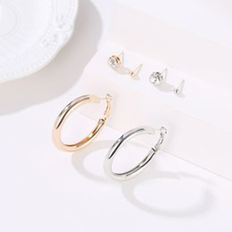 96f436050 14k Gold Hoop Earrings Wholesale Australia - 10 Sets Lot Simple 3pcs Hoop  Stud Earrings Set