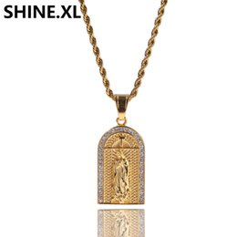 $enCountryForm.capitalKeyWord UK - Hip Hop Iced Out Stainless Steel Gold Plated Virgin Cross Pendant Church Our Lady Charm Pendant Necklace