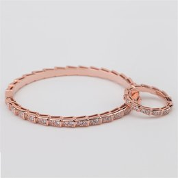 silver indian wedding bangles NZ - Fashion Snake Bone Bangles Rings Luxury Casual Bracelets Rings Gold Silver Rose Slim Bracelet Rings Exquisite Wedding Jewelry Lover Gift
