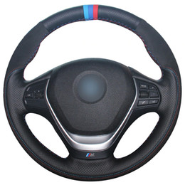 $enCountryForm.capitalKeyWord Australia - Black Natural Leather Black Suede Light Blue Blue Red Marker Car Steering Wheel Cover for BMW F30 320i 328i 320d F20