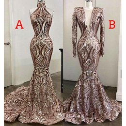 Modern velvet evening dress online shopping - Sparkly Rose Gold Sequins Mermaid Evening Dresses African Luxury Real Image Muslim Long Sleeve Arab Prom Pageant Gown