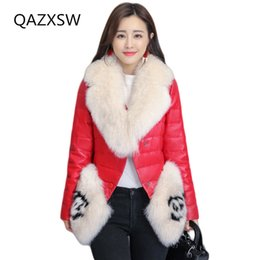 $enCountryForm.capitalKeyWord NZ - 2018 New Women's Winter Genuine Leather Coat Leather Down Jacket Short Sheep Skin Slim Fox Fur Collar Thick Warm Outer LE159