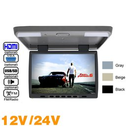 "Tft Speakers NZ - 3-Color DC12V 24V 15.4"" Inch Car Bus TFT LCD Roof Mounted Monitor Flip Down Monitor USB FM Speaker VGA Video Input #1291"