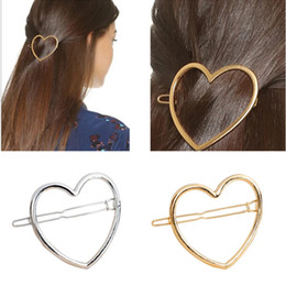 Delicate hair clips online shopping - Women Hairpins Girls Heart Circle Hair Clip Delicate Hair Pin Hollow Out Simple Clip Barrettes Styling Accessories