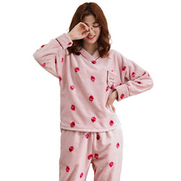 1f74032ea Flannel Pajamas For Women Winter Pyjamas Thick Warm Long Sleeve V-neck  Comfortable Soft Big Size M-XXL Coral Fleece Pijama Mujer