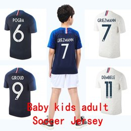 Wholesale 2 Stars kids designer clothes soccer jerseys Mbappe GRIEZMANN boy girl Maillot De Foot shirts baby football jerseys maillot equipe de france