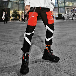 2fdc28564cd9 Flash Reflective Sweatpants High Waist Harem Pants Fashion Hip Hop Men Pants  Lace up Joggers Pants ropa de hombre 2019