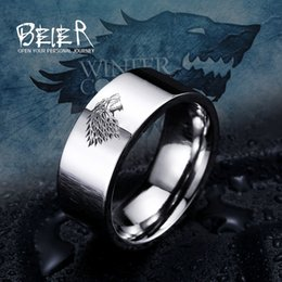 $enCountryForm.capitalKeyWord Australia - 10pcs Stainless Steel Game Thrones Ice House Stark Of Winterfell Men Laser Engraved Viking Wolf Ring Luo001 C19041203