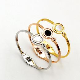 $enCountryForm.capitalKeyWord Australia - Trendy Open Bracelets for Women Bangle Rose Gold Rotating Black White Double-sided Roman Numerals Female Spring Bracelet