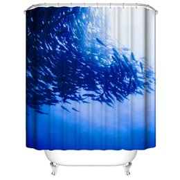 $enCountryForm.capitalKeyWord Australia - Customized Waterproof Beautiful fish school dolphin crowd Shower Curtains 3D Digital Printing Bathroom Curtains With Rings