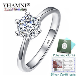 $enCountryForm.capitalKeyWord NZ - YHAMNI Have Certificate Original 925 Silver Wedding Promise Ring Solitaire 6mm 1 Carat Cubic Zircon Engagement Rings For Bride JZR040