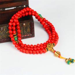 $enCountryForm.capitalKeyWord UK - 108 Red Coral bracelet natural stone beads mala necklace buddhist prayer rosary strand bracelets buddha Meditation