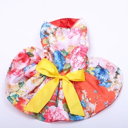 coloured tutus Australia - Girl Dog Pet Floral&bow Dress Tutu Cat Puppy Shirt Skirt Dresses Summer Apparel 4 Colours