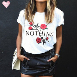 Rose sleeves online shopping - New T Shirt Nothing Letter Rose Short Sleeve Casual Female T Shirt Harajuku Women Tee Tops Camisetas Mujer Summer Cothing