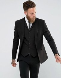 tuxedo lapel styles Australia - New Style Back Vent Two Buttons Black Wedding Groom Tuxedos Notch Lapel Groomsmen Men Suits Prom Blazer (Jacket+Pants+Vest+Tie) 155