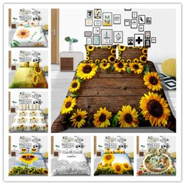 $enCountryForm.capitalKeyWord Australia - Modern 3D Sunflower Printed Bedding Sets Optimizer 100% Polyester Quilt Cover Set King Queen Double Full Twin Single Size