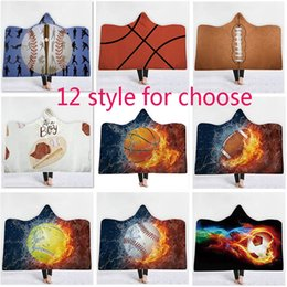cotton wrap blouse Australia - Baseball Softball And Football Basketball Poncho Blanket For Children Adult Outerwear Blouses Hoodies Clothes Warm Wrap Shawl Cape AN2486