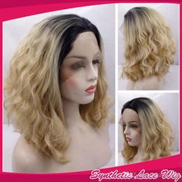 $enCountryForm.capitalKeyWord Australia - Ombre Black To Blonde Two Tones Color Loose Wavy Wig Short Curly Bob Synthetic Lace Front Wigs Heat Resistant Fiber Hair 1B 27&613#